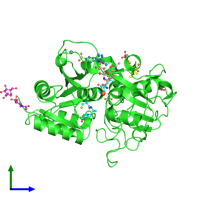 PDB 4fim coloured by chain and viewed from the side.
