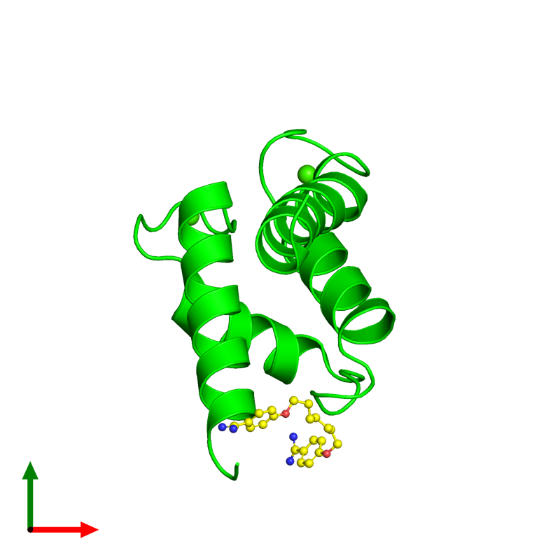 <div class='caption-body'><ul class ='image_legend_ul'>The deposited structure of PDB entry 4fqo coloured by chemically distinct molecules and viewed from the top. The entry contains: <li class ='image_legend_li'>1 copy of Protein S100-B</li><li class ='image_legend_li'>2 non-polymeric entities<ul class ='image_legend_ul'><li class ='image_legend_li'>2 copies of CALCIUM ION</li><li class ='image_legend_li'>1 copy of 4,4'-[heptane-1,7-diylbis(oxy)]dibenzenecarboximidamide</li></ul></li></div>