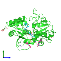 PDB 4g2z coloured by chain and viewed from the side.
