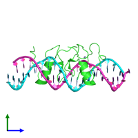 PDB 4hca coloured by chain and viewed from the side.