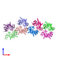 PDB 4hu8 coloured by chain and viewed from the front.