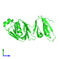 PDB 4ifs coloured by chain and viewed from the side.