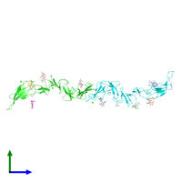 PDB 4ild coloured by chain and viewed from the side.