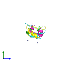 PDB 4ins coloured by chain and viewed from the side.