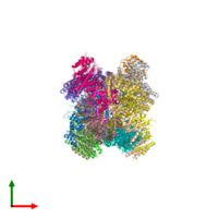 PDB 4kk1 coloured by chain and viewed from the top.