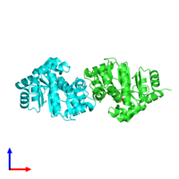 PDB 4l50 coloured by chain and viewed from the side.
