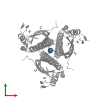 PDB 4l8o contains 3 copies of SODIUM ION in assembly 1. This small molecule is highlighted and viewed from the top.