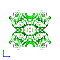 Tetrameric assembly 1 of PDB entry 4l8q coloured by chemically distinct molecules and viewed from the side.
