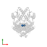 PDB 4mca contains 4 copies of SODIUM ION in assembly 3. This small molecule is highlighted and viewed from the top.