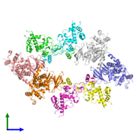 PDB 4md7 coloured by chain and viewed from the front.