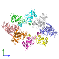 PDB 4md8 coloured by chain and viewed from the front.