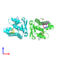 PDB 4mdf coloured by chain and viewed from the side.