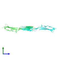 PDB 4mt5 coloured by chain and viewed from the side.