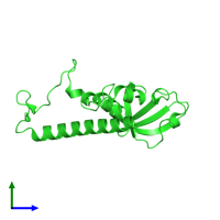 PDB 4nng coloured by chain and viewed from the side.