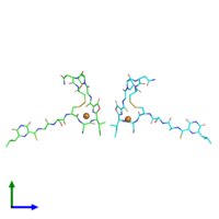 PDB 4oz7 coloured by chain and viewed from the front.
