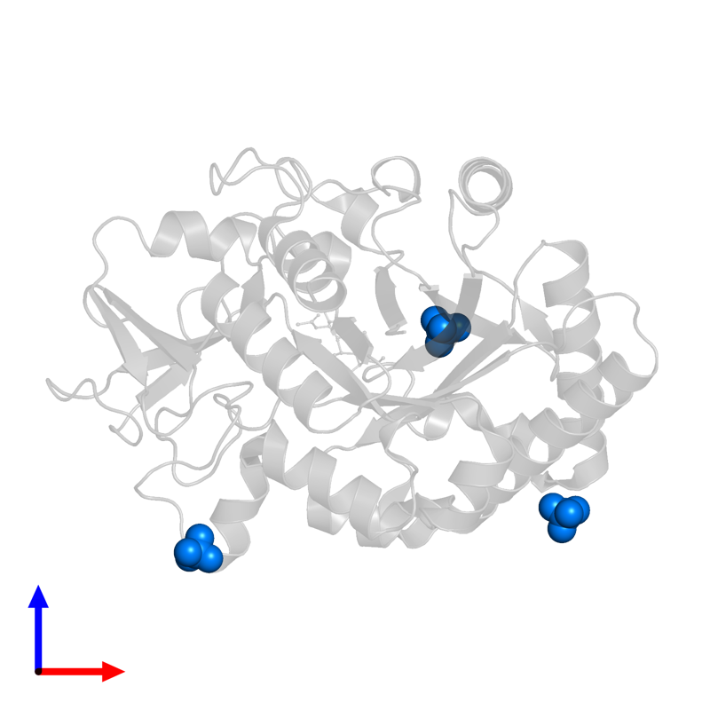 <div class='caption-body'>PDB entry 4p8v contains 3 copies of SULFATE ION in assembly 1. This small molecule is highlighted and viewed from the front.</div>