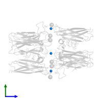 PDB 4q56 contains 6 copies of ZINC ION in assembly 1. This small molecule is highlighted and viewed from the side.