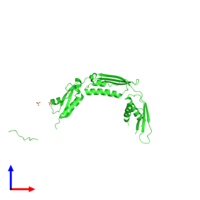 PDB 4qay coloured by chain and viewed from the front.