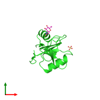 PDB 4qkg coloured by chain and viewed from the top.