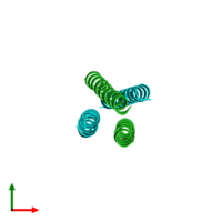 PDB 4r3q coloured by chain and viewed from the top.