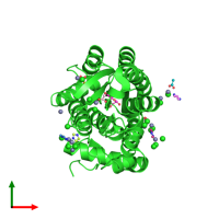 PDB 4rs3 coloured by chain and viewed from the top.