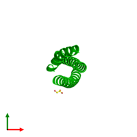 Trimeric assembly 2 of PDB entry 4s1x coloured by chemically distinct molecules and viewed from the top.