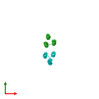 PDB 4tql coloured by chain and viewed from the top.