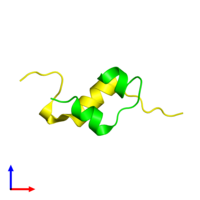 Dimeric assembly 1 of PDB entry 4ung coloured by chemically distinct molecules and viewed from the side.