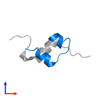 PDB 4ung contains 1 copy of Insulin A chain in assembly 2. This protein is highlighted and viewed from the side.