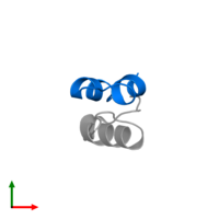 PDB 4ung contains 1 copy of Insulin A chain in assembly 2. This protein is highlighted and viewed from the top.