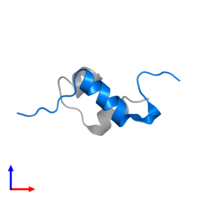 PDB 4ung contains 1 copy of Insulin B chain in assembly 2. This protein is highlighted and viewed from the side.
