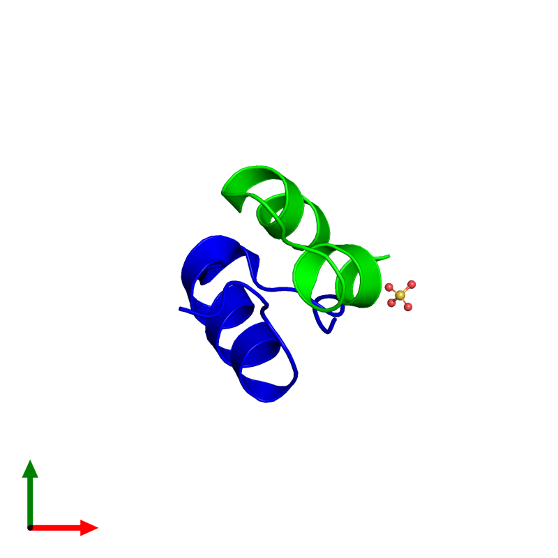 <div class='caption-body'><ul class ='image_legend_ul'> Dimeric assembly 1 of PDB entry 4unh coloured by chemically distinct molecules and viewed from the top. This assembly contains:<li class ='image_legend_li'>One copy of Insulin A chain</li><li class ='image_legend_li'>One copy of Insulin B chain</li><li class ='image_legend_li'>One copy of SULFATE ION</li></ul></div>