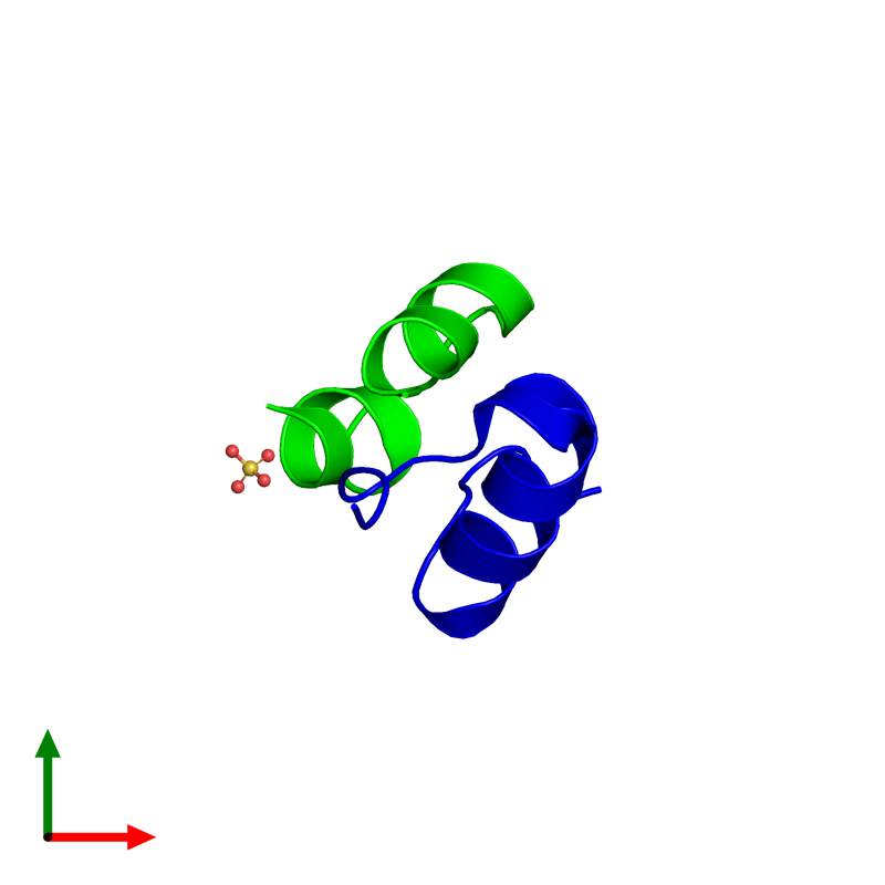 <div class='caption-body'><ul class ='image_legend_ul'>The deposited structure of PDB entry 4unh coloured by chemically distinct molecules and viewed from the top. The entry contains: <li class ='image_legend_li'>1 copy of Insulin A chain</li><li class ='image_legend_li'>1 copy of Insulin B chain</li><li class ='image_legend_li'>There is 1 non-polymeric molecule<ul class ='image_legend_ul'><li class ='image_legend_li'>1 copy of SULFATE ION</li></ul></li></div>