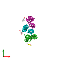 PDB 4v1g coloured by chain and viewed from the top.