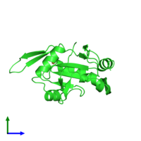 PDB 4wbr coloured by chain and viewed from the side.