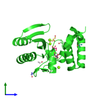 PDB 4wqk coloured by chain and viewed from the side.