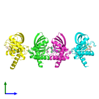 PDB 4wxl coloured by chain and viewed from the side.
