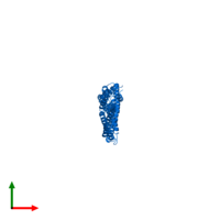 PDB 4xa6 contains 2 copies of Capsid assembly scaffolding protein - Microtubule-associated protein RP/EB family member 1 - Myosin-7 chimera in assembly 1. This protein is highlighted and viewed from the top.