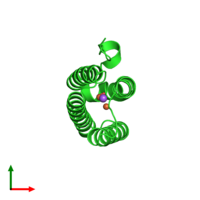 PDB 4xq1 coloured by chain and viewed from the top.