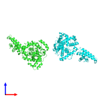 PDB 4xzc coloured by chain and viewed from the front.