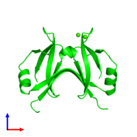 Dimeric assembly 1 of PDB entry 4yx1 coloured by chemically distinct molecules and viewed from the front.