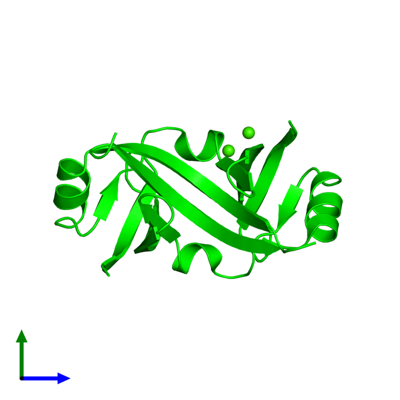 <div class='caption-body'><ul class ='image_legend_ul'> Dimeric assembly 1 of PDB entry 4yx1 coloured by chemically distinct molecules and viewed from the side. This assembly contains:<li class ='image_legend_li'>2 copies of Surface presentation of antigens protein SpaO</li><li class ='image_legend_li'>2 copies of CALCIUM ION</li></ul></div>