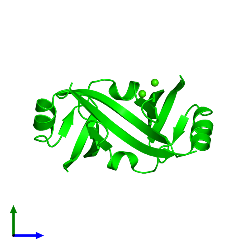<div class='caption-body'><ul class ='image_legend_ul'>The deposited structure of PDB entry 4yx1 coloured by chemically distinct molecules and viewed from the side. The entry contains: <li class ='image_legend_li'>2 copies of Surface presentation of antigens protein SpaO</li><li class ='image_legend_li'>There is 1 non-polymeric molecule<ul class ='image_legend_ul'><li class ='image_legend_li'>2 copies of CALCIUM ION</li></ul></li></div>