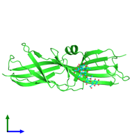 PDB 4z3e coloured by chain and viewed from the side.