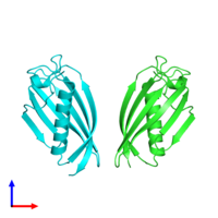 PDB 4zrf coloured by chain and viewed from the front.