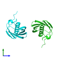 PDB 4zrf coloured by chain and viewed from the side.