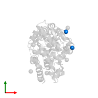 PDB 4zs9 contains 2 copies of CHLORIDE ION in assembly 2. This small molecule is highlighted and viewed from the top.