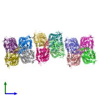 PDB 4zz7 coloured by chain and viewed from the side.