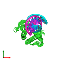 PDB 5b7j coloured by chain and viewed from the top.