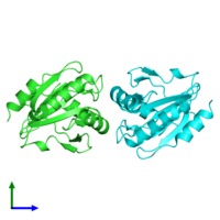 PDB 5c04 coloured by chain and viewed from the side.